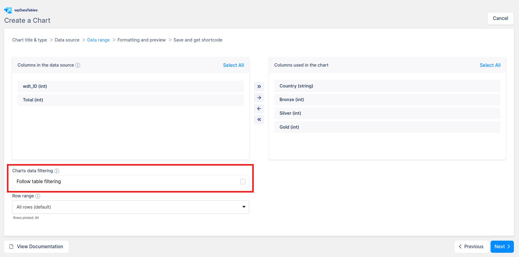 Folow table filtering in WordPress charts