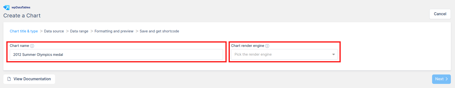 Chart name and engine