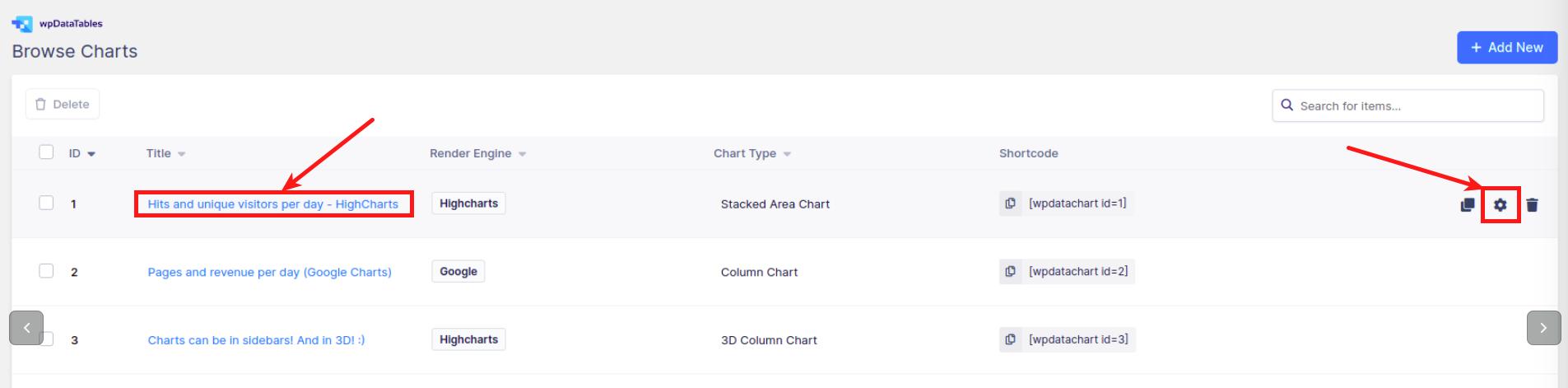 Configure charts in WordPress