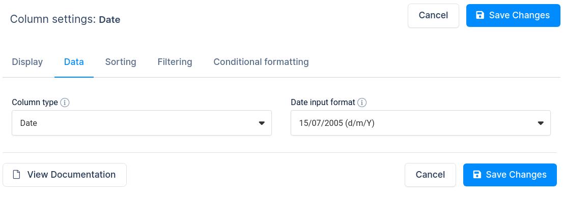 Date column options