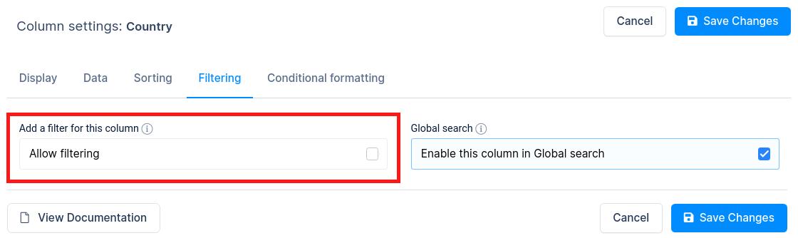 Disable column filtering