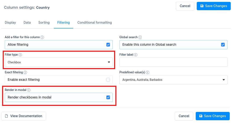 Checkbox filter options