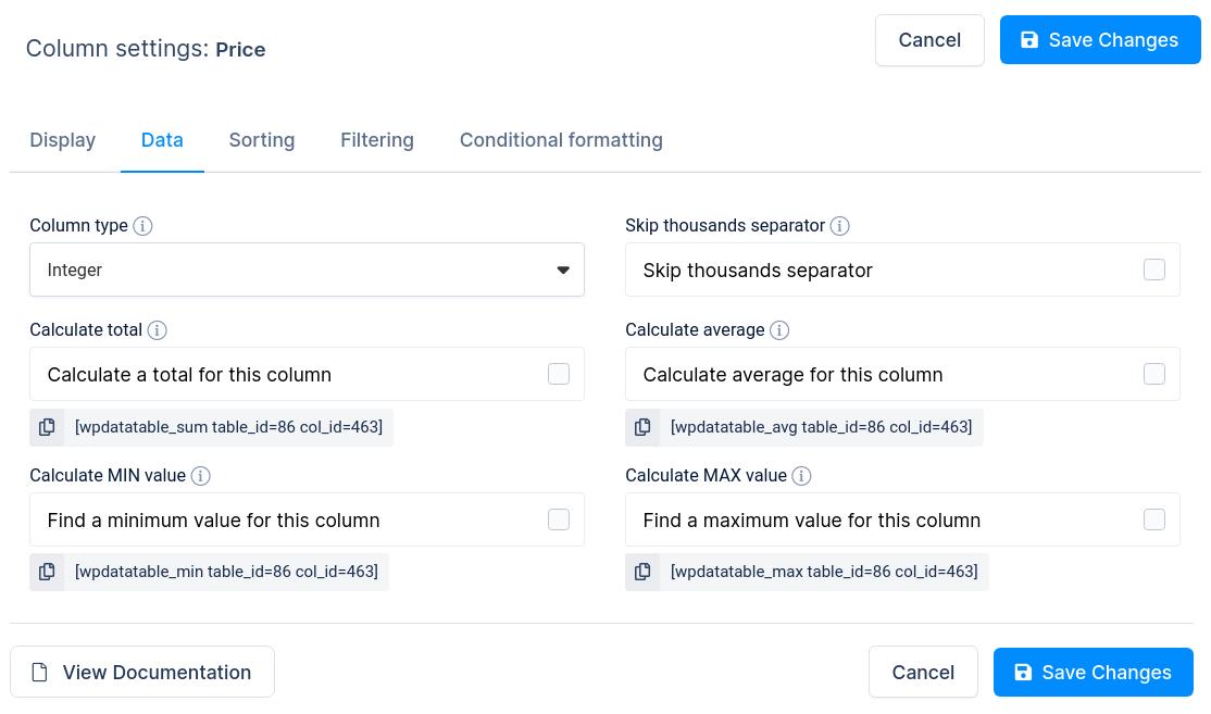 Integer column options