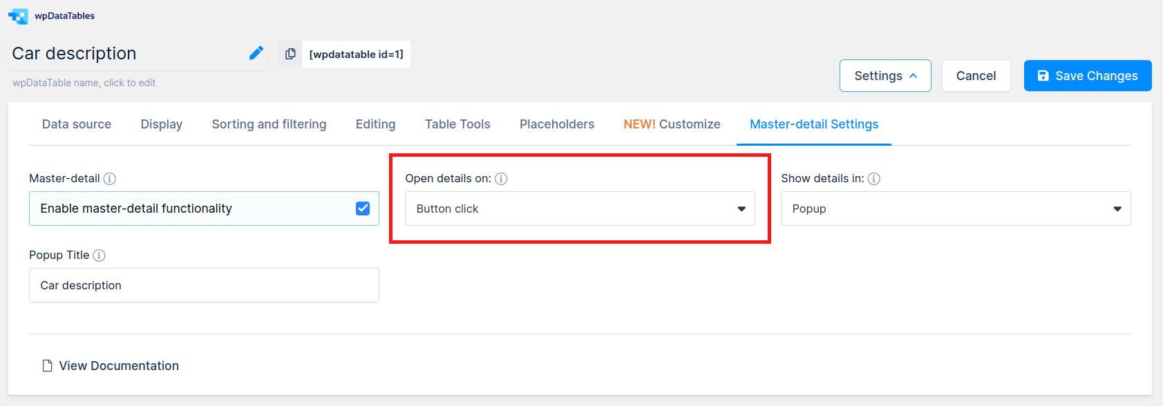 Master detail button click option