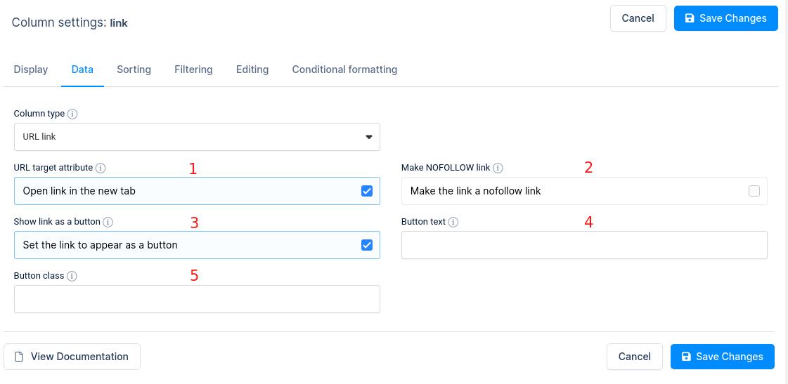 URL link column option