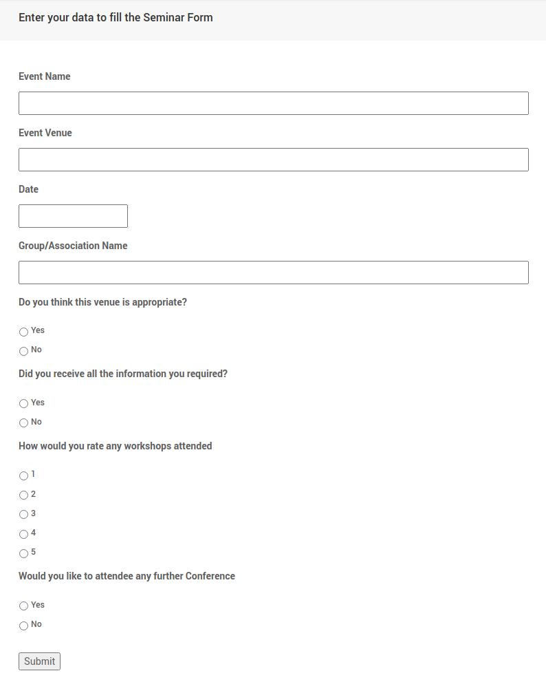 Seminar feedback form